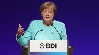 German Chancellor Angela Merkel addressing BDI, 20 Jun 17