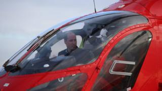 The Duke of Cambridge in a helicopter