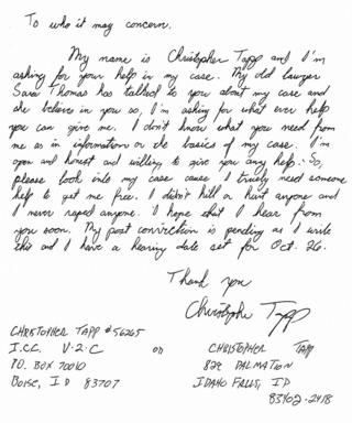 in_pictures A letter from Chris Tapp to the Idaho innocence project