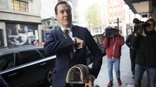 George Osborne arrives for his first day of work as editor of the Evening Standard