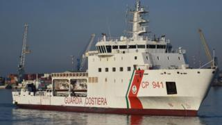 "The coast guard ship ""Diciotti"" arrives at the Catania Port, after rescuing migrants, in Sicily, Italy on 13 June 2018."