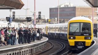 Passengers on platform at London Bridge station