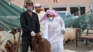 رجل يمسك بأضحية في الكويت