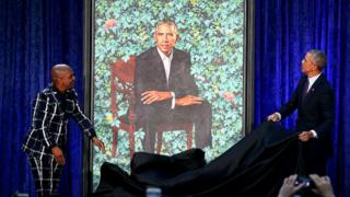 Kehinde Wiley pẹlu Barrack Obama ṣi aworan Obama