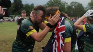 Australian Quidditch players celebrating after winning the Quidditch World Cup