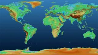 نقشهای که سازمان فضایی آلمان منتشر کرده، تغییرات ارتفاع سطح زمین را نشان میدهد