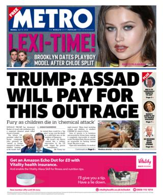 Metro front page - 09/04/18
