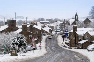 A snowy street in the town of Hawes in the Yorkshire Dales