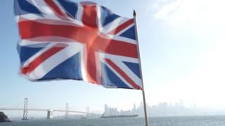 Union Jack flies in front of San Francisco