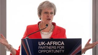 Theresa May at a press conference in South Africa