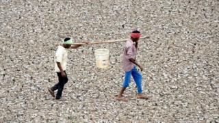 Dos hombres transportando agua en un balde