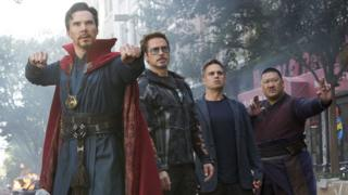 Benedict Cumberbatch, Robert Downey Jr, Mark Ruffalo and Benedict Wong in Avengers: Infinity War