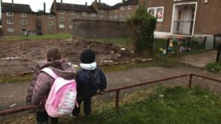Children on a housing estate
