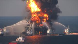 Response crews battle the blazing remnants of the offshore oil rig Deepwater Horizon on 21 April 2010