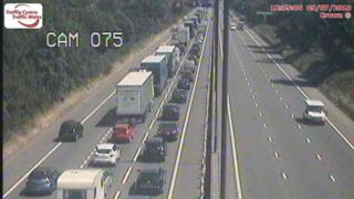 Vehicles queuing on the M4 Eastbound carriageway near Newport.