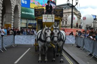 Transport old and new brings London's Regent Street to a standstill