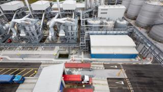 Birds eye view of Vivergo Fuels plant in Saltend