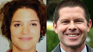 13日にパリ郊外で殺害された警官ジャン・バティスト・サルベンさん(右)とパートナーのジェシカ・シュナイダーさん。