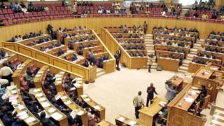 L'hémicycle gabonais à la place Léon Mba à Libreville, le 29 juillet 2003 (illustration).