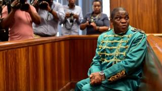 Controversial Nigerian pastor Timothy Omotoso during his appearance on charges of rape and human trafficking at the Port Elizabeth High Court on October 09, 2018 in Nelson Mandela Bay, South Africa.