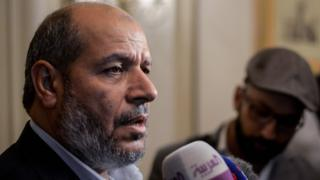Hamas senior political leader, Khalil al-Hayya, speaks during a press conference at the end of two days of closed-door talks