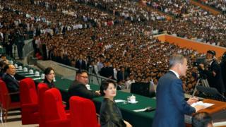 President Moon Jae-in speaks at the performance in Pyongyang