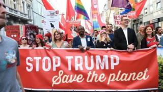 تظاهرات ضد ترامپ در مرکز بروکسل