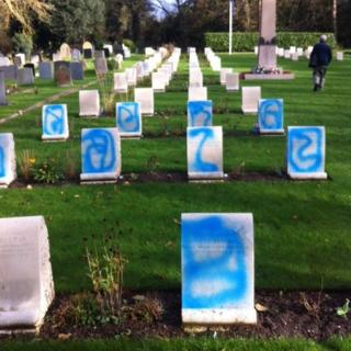 Defaced war graves