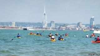 Swim with kayakers from Ryde to Southsea in 2014