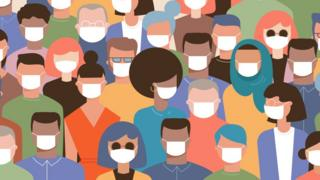 Ilustração mostra pessoas usando máscaras