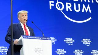US President Donald Trump addresses a plenary session during the 50th annual meeting of the World Economic Forum (WEF) in Davos, Switzerland