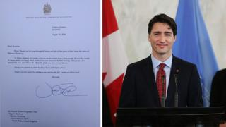 A picture of Canadian Prime Minister Justin Trudeau and a copy of the letter he sent to the school