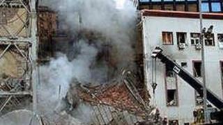 Зграда РТС након бомбардовања 1999.