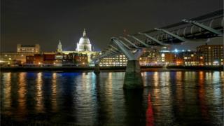 Millennium Bridge in London at night