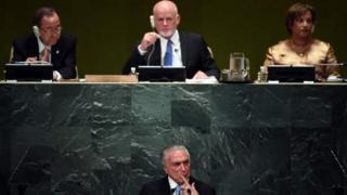 Temer em discurso na Assembleia Geral da ONU