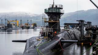 "Vanguard-class submarine HMS Vigilant, one of the UK""s four nuclear warhead-carrying submarines."