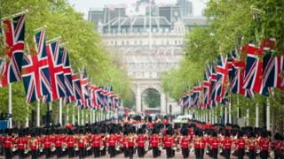 Troops march along The Mall for Trooping the Colour parade
