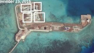 ภาพถ่ายที่ชี้ให้เห็นโครงสร้างทางทหารบนเกาะเทียม
