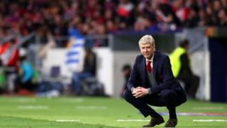 Arsene Wenger, Manager of Arsenal looks dejected during the UEFA Europa League Semi Final second leg match between Atletico Madrid and Arsenal FC at Estadio Wanda Metropolitano on May 3, 2018 in Madrid, Spain.