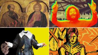 Clockwise from top left: Pietro Lorenzetti's Christ Between Saints Paul and Peter (detail), Basil Kircher, Ziggy Stardust and The Hypocrite