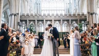 Handout photo of the wedding of singer Ellie Goulding to Caspar Jopling at York Minster