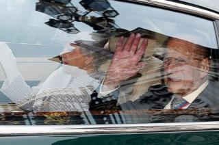 Prince Philip, The Duke of Edinburgh and Elizabeth II leave Buckingham Palace in London,