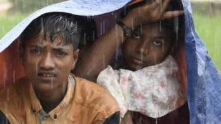 Monsoon rain adds to the misery of the refugees.