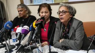 Aida Seif al-Dawla , Suzan Fayyad and Magda Adly, co-founders of the Nadeem Center for Rehabilitation of Victims of Violence, during a press conference