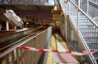 The scene of an alleged rape of a 24-year-old Naples woman at Circumvesuviana station in San Giorgio a Cremano
