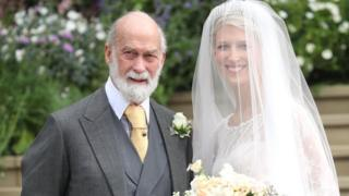 Lady Gabriella Windsor with her father Prince Michael of Kent for her wedding
