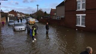 Rising water in Bentley, Doncaster