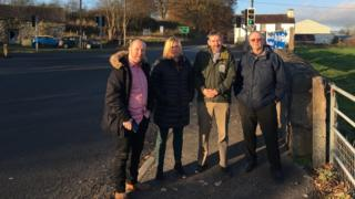 Sian Roberts meets councillors Mabon ap Gwynfor, Huw Jones and Elwyn Edwards at the junction