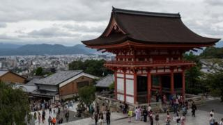Kyoto city is seen from the Kiyomizu Temple on September 7, 2015 in Kyoto, Japan