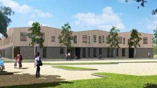 Computer image of new school